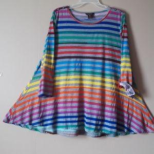 Rainbow Multiples striped tunic, sz XL